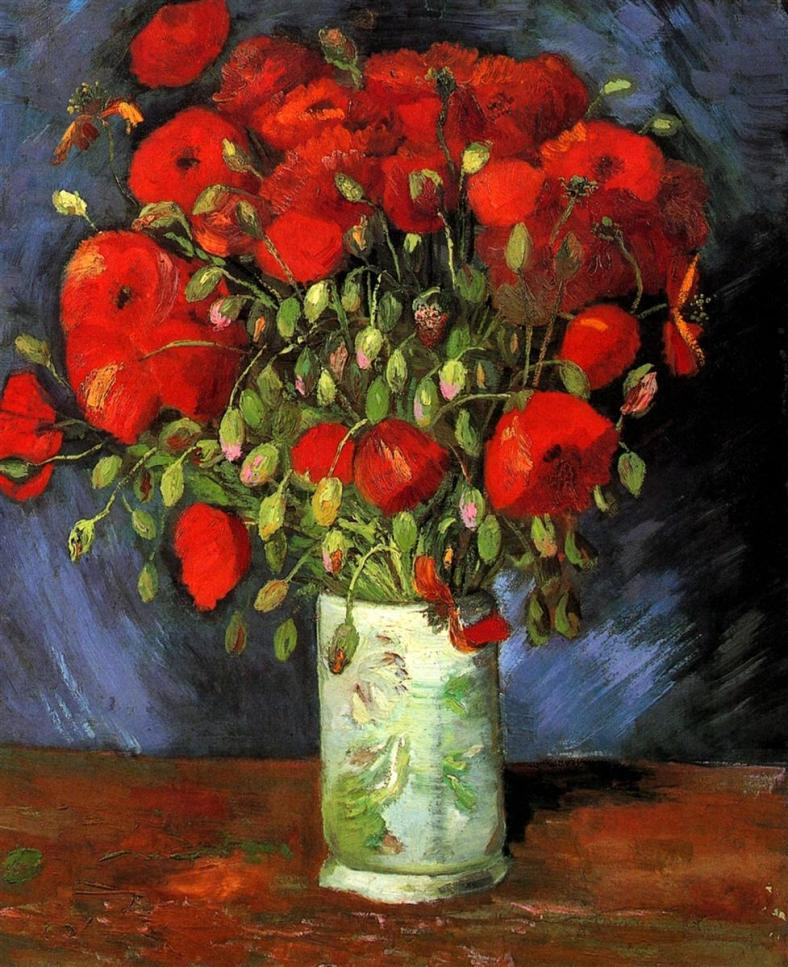 Vase with Red Poppies completed by Vincent van Gogh in 1886