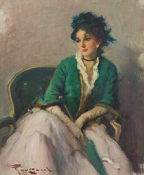 Elegant woman with a Parasol by Fernand Toussaint
