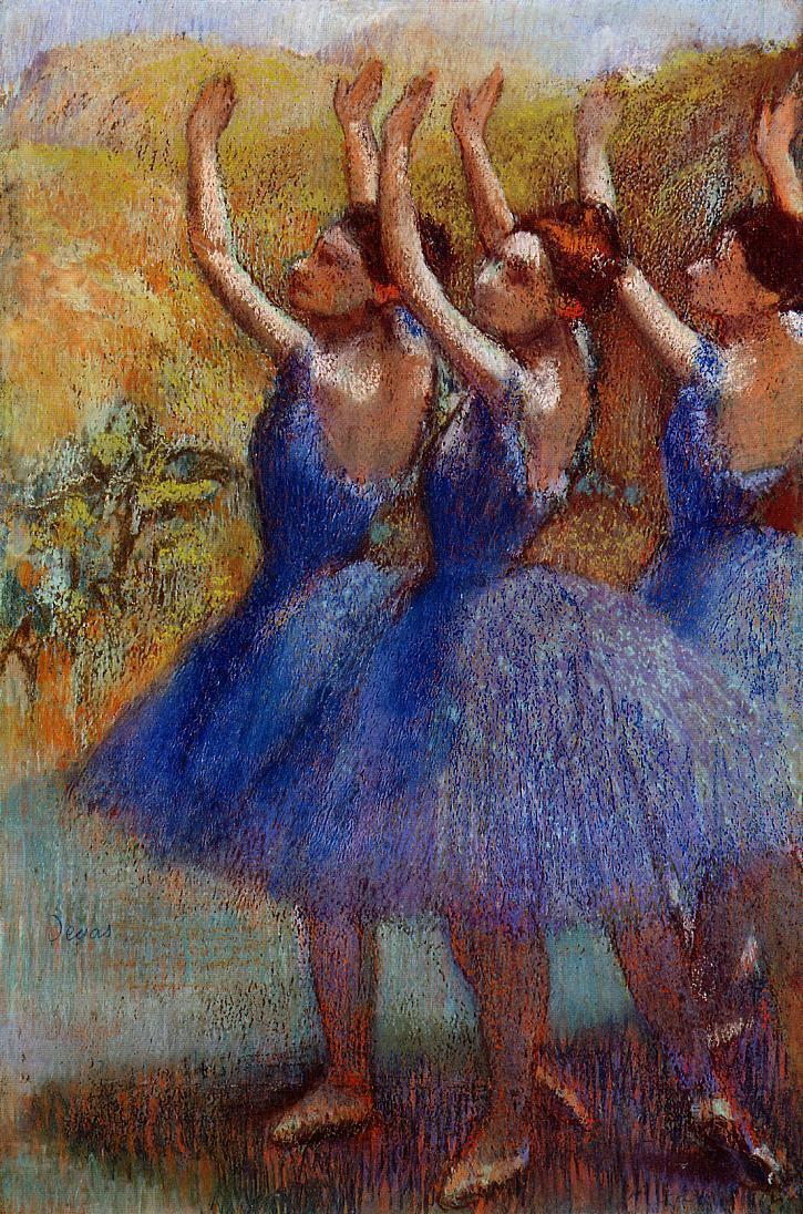 Three Dancers In Purple Skirts by Edgar Degas